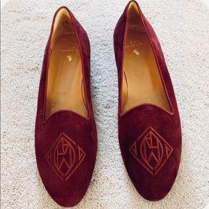Ralph Lauren Monogram Velvet Smoking Slip On Shoes